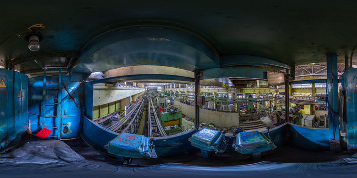 full spherical equirectangular projection of the view from the cab of the crane beam in the cold stamping workshop