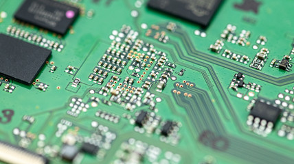 PCB (printed circuit board) close-up shot with a lot of electronic components