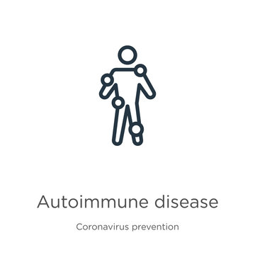 Autoimmune disease icon. Thin linear autoimmune disease outline icon isolated on white background from Coronavirus Prevention collection. Modern line vector sign, symbol, stroke for web and mobile