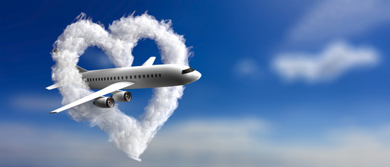 Heart shaped cloud and a plane on blue sky background. 3d illustration