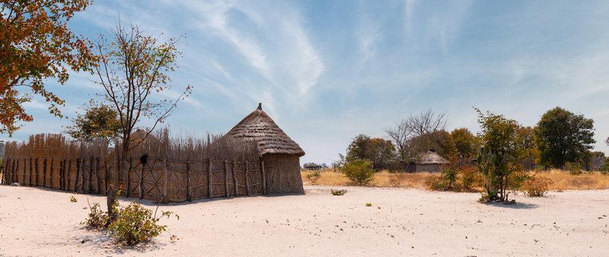 Traditional african village inside the Okavango Delta, Botswana