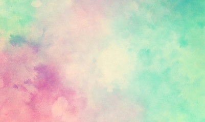 Wall Mural - Colorful watercolor background of abstract sunset sky with puffy clouds in bright painted colors of pink blue green and white