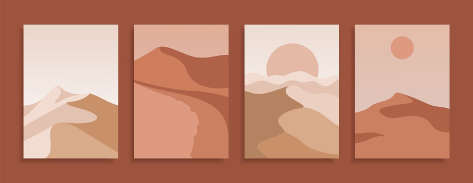 Set of modern covers in terracotta colors. Collection of Desert landscape backgrounds. Vector design template.
