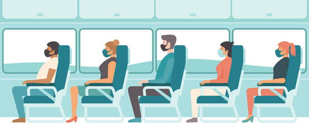 Passengers wearing protective medical masks travelling by bus or train..Travel during coronavirus COVID-19 disease outbreak. Fotomurales