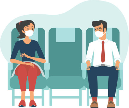 Passengers wearing protective masks travelby airplane.New seating regulations on flights.Travel during coronavirus COVID-19 disease outbreak.