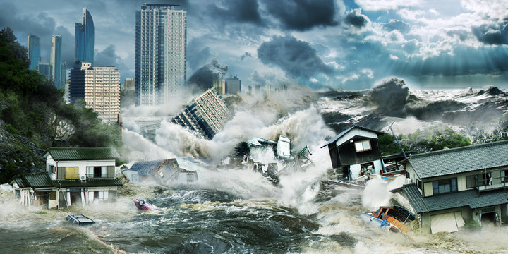 Big tsunami flooding wave destroy city with skyscrapers near ocean