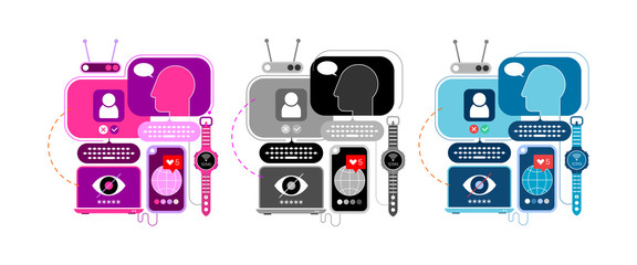 3 options of a Social Networking vector illustration. Design with computers and electronic devices isolated on a white background.