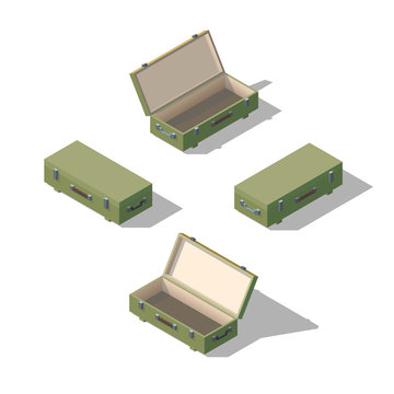 Vector isometric opened and closed wooden box. Army ammunition isometric box.