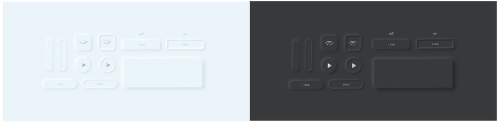 Vector set of different buttons in neumorphic/skeuomorphism style. Whight and black version. Ui template. All elements are isolated. Wall mural
