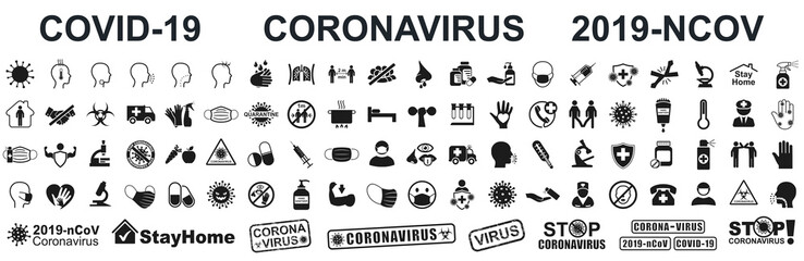 Set corona virus icons. Concept with symptoms and protective antivirus icons related to coronavirus, 2019-nCoV, COVID-19 – stock vector Fotobehang