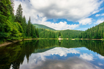 lake scenery among the forest in mountains. beautiful alpine landscape in summer. Synevyr National park is a popular destination of Ukrainian Carpathians. clouds reflecting on the calm water surface