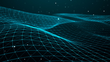 Papiers peints Abstract wave Abstract dynamic wave of points and lines. Perspective grid. Big data. Network of particles. Digital background. 3d rendering.