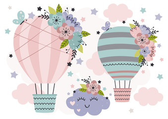 cute poster with Hot Air Balloon cloud and flowers  -  vector illustration, eps