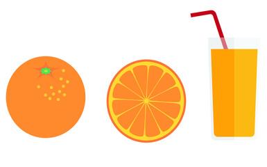 glass of orange juice and oranges.  Vector illustration