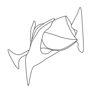Minimal abstract line art with profile of person drinking wine