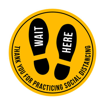 Wait Here floor graphic for retail stores and restaurants - social distancing compliance