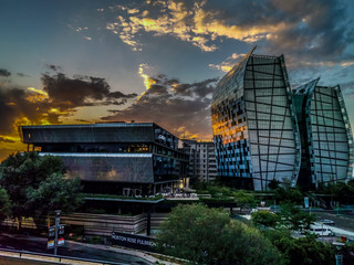 Johannesburg, South Africa - Jan 1 2020 : HDR photo of Sandton offices at sunset. Sandton in the financial hub of Johannesburg.