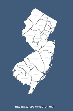 new jersey map. vector map of new jersey, u.s. states map.