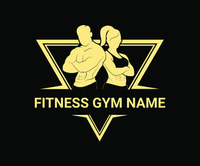 vector illustration of a Gym Logo, Fitness club, Golden Gym logo design, Man And Woman