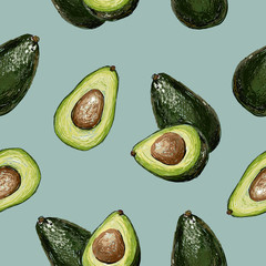 Seamless vector hand drawn pattern with avocado in doodle style on a blue background. Healthy food green texture.