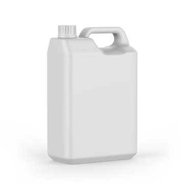 Blank  Plastic JerryCan With Handle On White Background For Branding And Mock up, 3d Render Illustration,