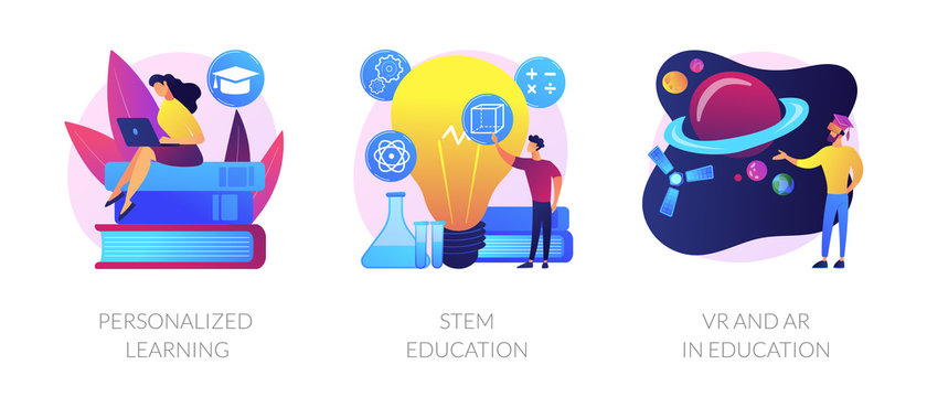 Personal studying program, academic system, futuristic technology icons set. Personalized learning, stem education, VR and AR in education metaphors. Vector isolated concept metaphor illustrations