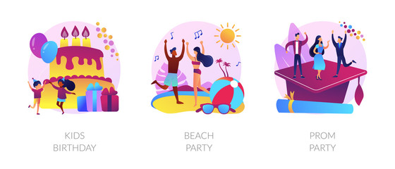Children anniversary celebration, summer season discotheque, school graduation ball icons set. Kids birthday, beach party, prom party metaphors. Vector isolated concept metaphor illustrations
