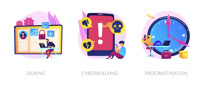 Online privacy violation, internet harassment problem, task delay and laziness icons set. Doxing, cyberbullying, procrastination metaphors. Vector isolated concept metaphor illustrations