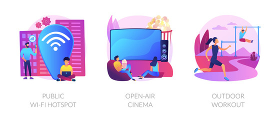 Keuken foto achterwand Hoogte schaal Entertainment and recreation flat icons set. Outside pastime, active lifestyle. Public wi-fi hotspot, open-air cinema, outdoor workout metaphors. Vector isolated concept metaphor illustrations.