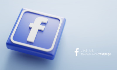 Facebook 3D Rendering Close up. Account Page Promotion Template.