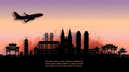 Fototapete - Watercolor of Chongqing, China silhouette skyline and famous landmark. vector illustration.