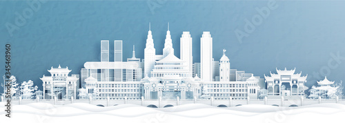 Fototapete Panorama view of Chongqing skyline with world famous landmarks of China in paper cut style vector illustration.