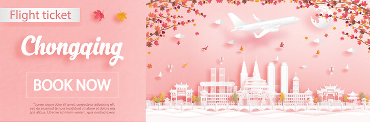Fototapete - Flight and ticket advertising template with travel to Chongqing, China in autumn season deal with falling maple leaves and famous landmarks in paper cut style vector illustration