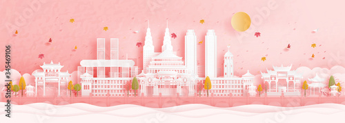 Fototapete Autumn in Chongqing, China with falling maple leaves and world famous landmarks in paper cut style vector illustration
