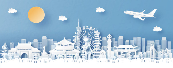 Fototapete - Panorama view of Guangzhou, China with temple and city skyline with world famous landmarks in paper cut style vector illustration
