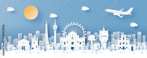 Fototapete Panorama view of Macau, China with temple and city skyline with world famous landmarks in paper cut style vector illustration