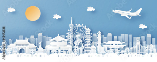 Fototapete Panorama view of Guangzhou, China with temple and city skyline with world famous landmarks in paper cut style vector illustration