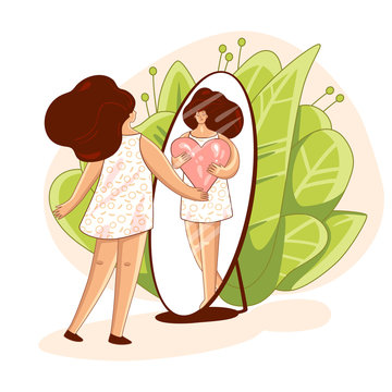 Vector Love yourself and take care of yourself concept. Girl, looking in mirror and hugging big love heart. Girl Healthcare Skincare illustration about Take time for your self