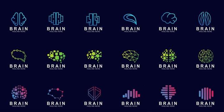 Set of Brain logo creative design