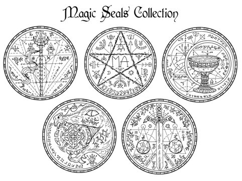Design vector set with black and white magic seals and mystic symbols.