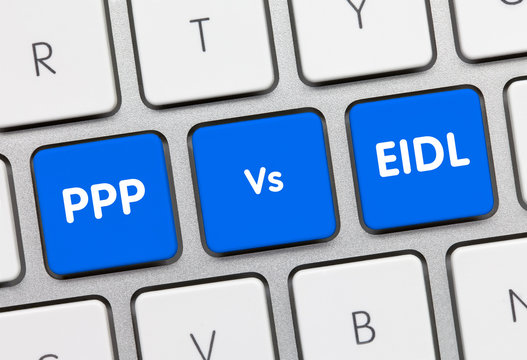 PPP Vs EIDL - Inscription on Blue Keyboard Key.