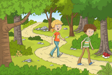 Fototapete - Two children are walking through the forest. Hand drawn vector illustration with separate layers.