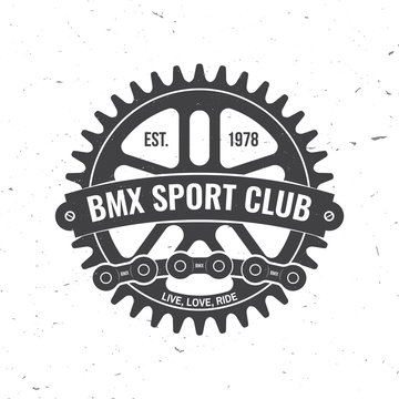 Bmx extreme sport club badge. Vector. Concept for shirt, logo, print, stamp, tee with sprocket, chain. Vintage typography design with bmx sprocket and chain silhouette.