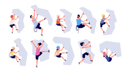 Sport climbing. Kids adults climb wall. Accomplishment top, risk adventure. Isolated strong climbers with equipment, extreme girl vector set. Rock climber climbing, sport extreme exercise illustration