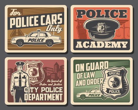 Police and law, security, justice legal court and policeman, officer badge vector posters. Police academy and civil order department, legislation and justice scales, police cars parking signage