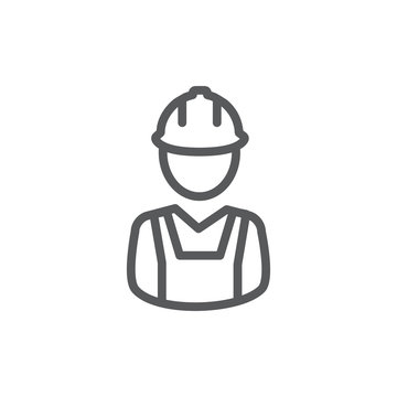 Builder line icon on white background