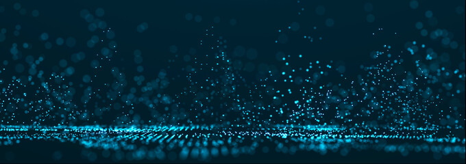 Technology background with glowing defocused particles. Big data. Digital background. 3D