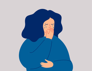 Depressed young girl is crying covering her face with one hand. Weeping woman emotions grief, sorrow, sadness. Mental disorder or illness concept.  Human character vector illustration