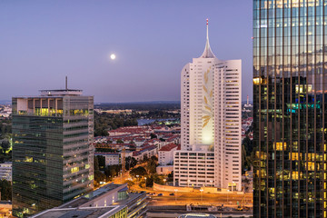 Danube City in Vienna with amazing skyline with the DC Tower at the Danube River
