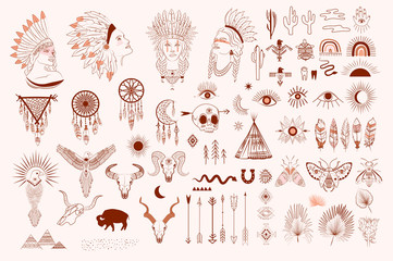 Collection of boho and tribal elements, woman face portrait, dreamcatcher, birds, animals skull, esoteric elements, insect and plants. Minimalist objects one line style. Editable Vector Illustration.